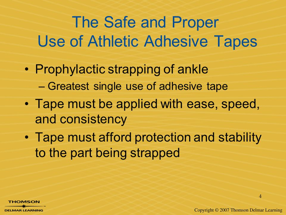The Safe and Proper Use of Athletic Adhesive Tapes