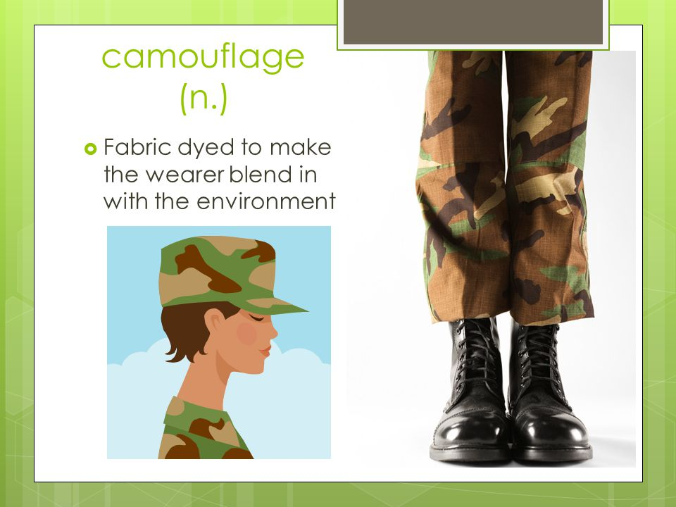 camouflage (n.) Fabric dyed to make the wearer blend in with the environment