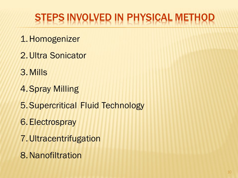 Steps involved in physical method