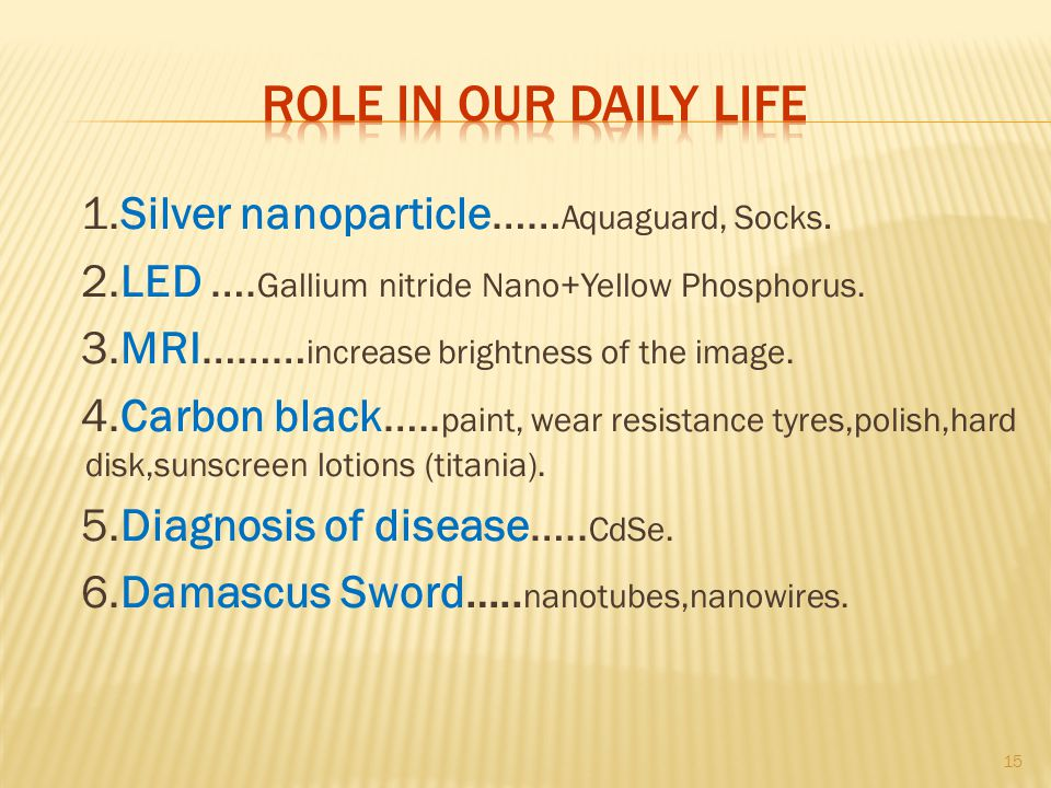 Role in our daily life 1.Silver nanoparticle……Aquaguard, Socks.