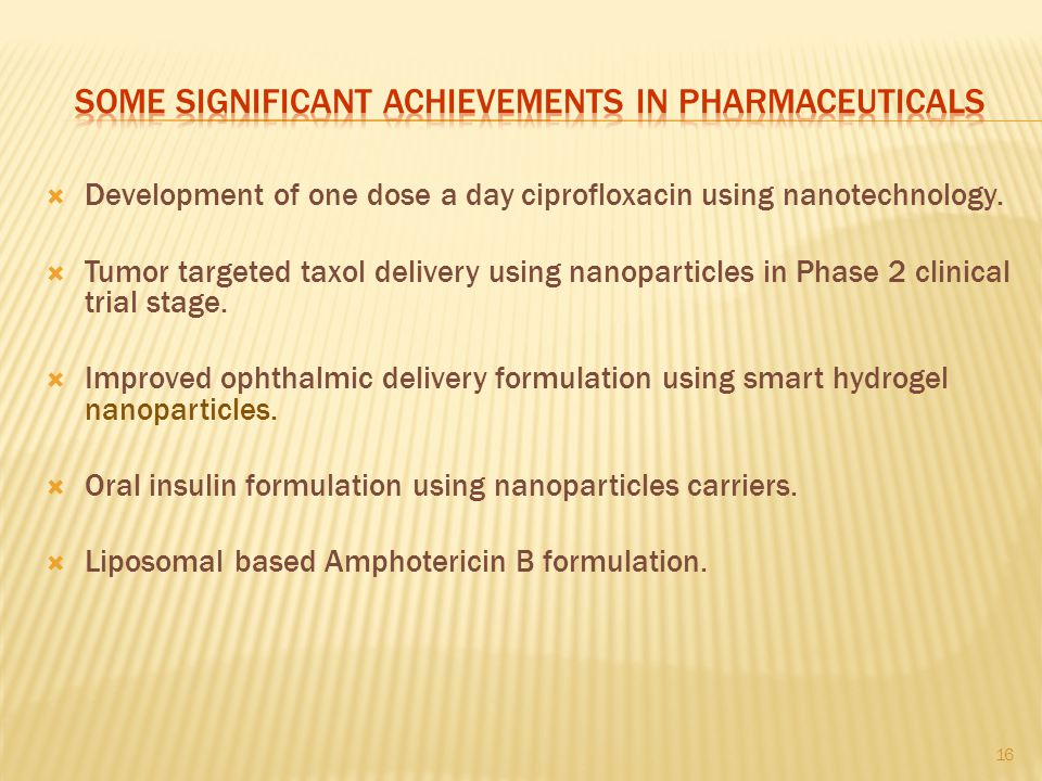 SOME SIGNIFICANT ACHIEVEMENTS in pharmaceuticals