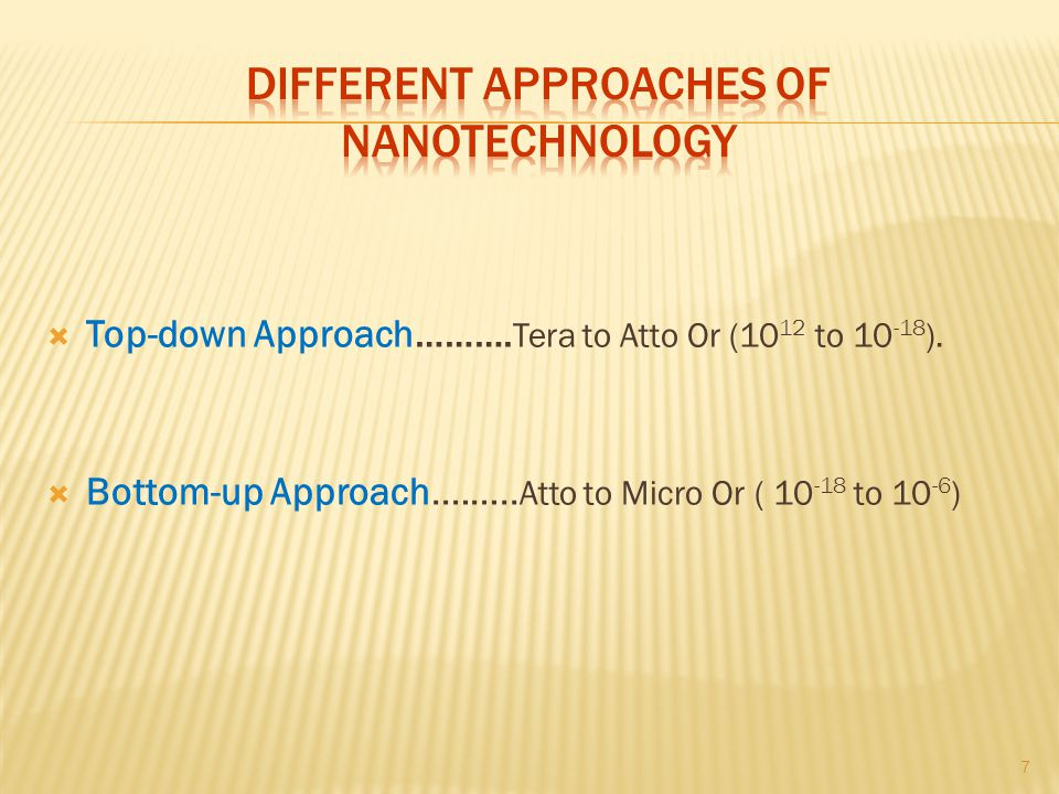 Different approaches of nanotechnology