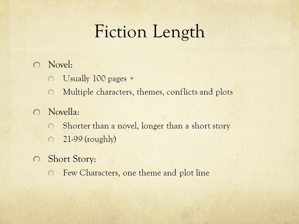 Fiction Length Novel: Novella: Short Story: Usually 100 pages +