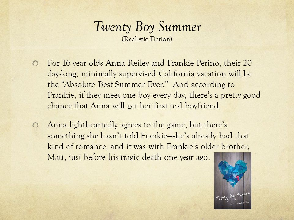 Twenty Boy Summer (Realistic Fiction)