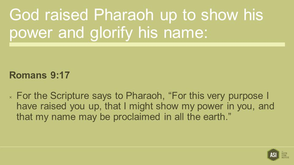 God raised Pharaoh up to show his power and glorify his name: