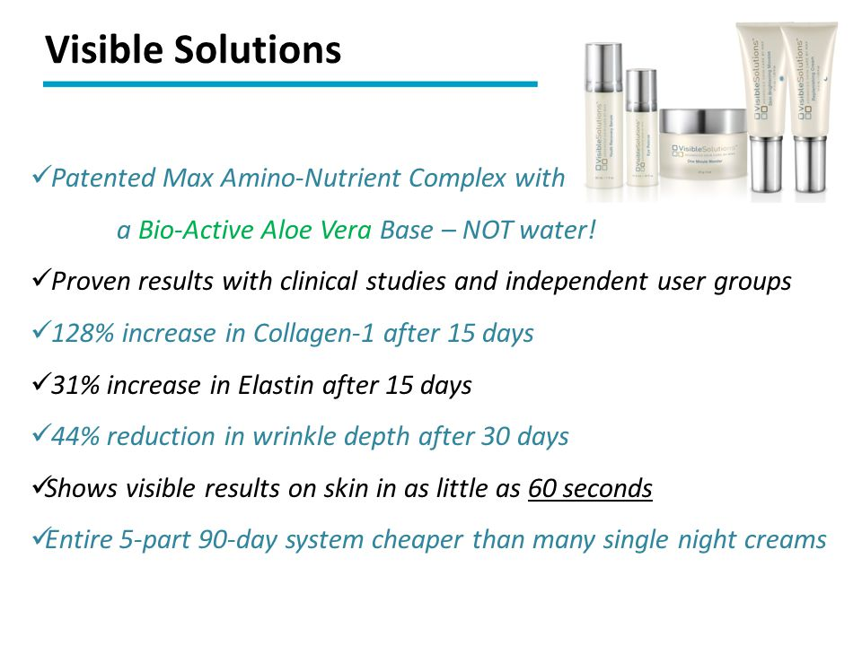 Visible Solutions Patented Max Amino-Nutrient Complex with a Bio-Active Aloe Vera Base – NOT water!