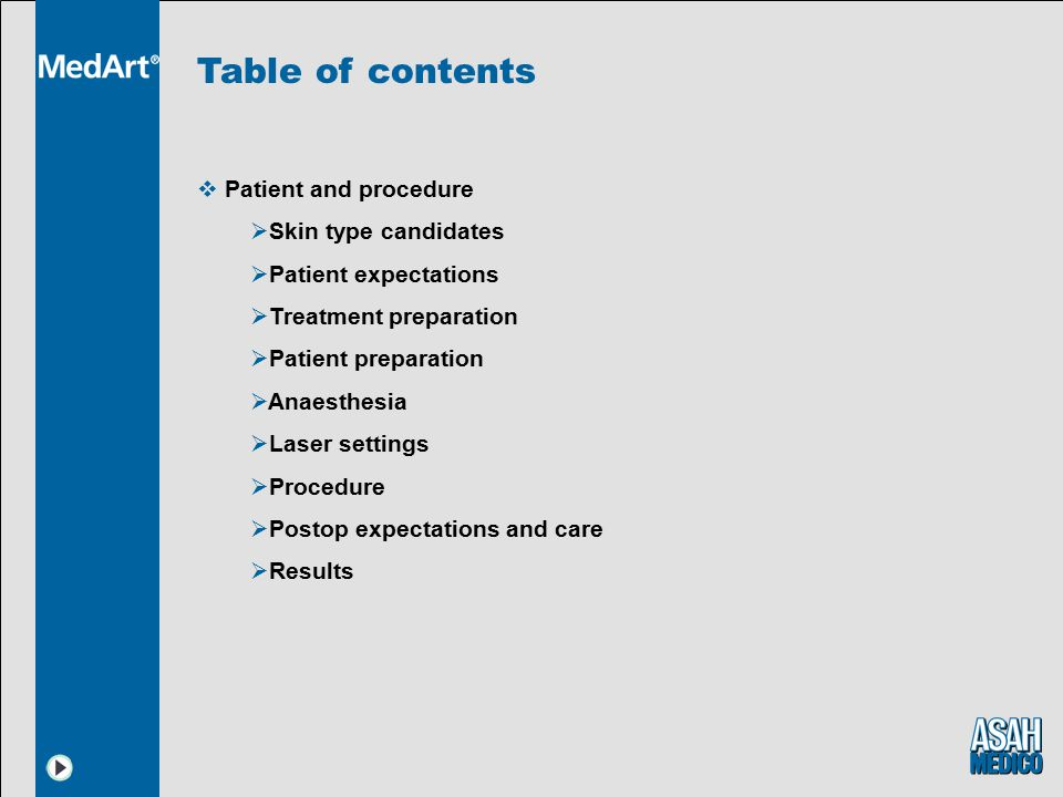 Table of contents Patient and procedure Skin type candidates