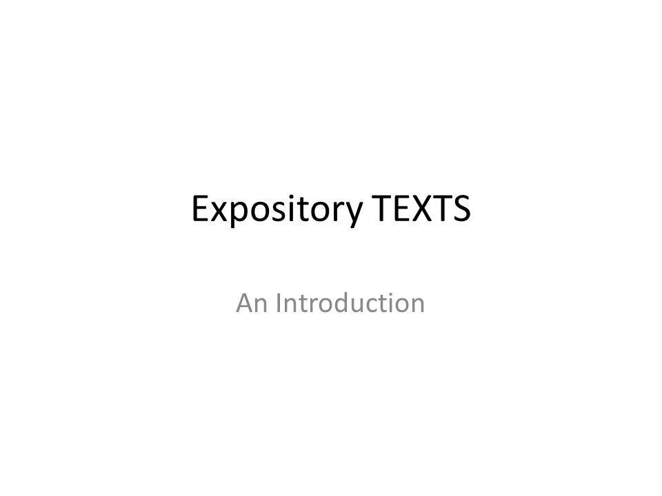 Expository TEXTS An Introduction