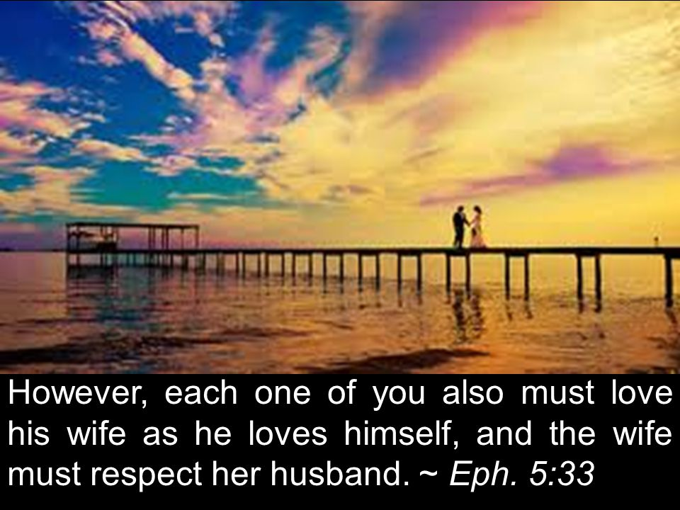 However, each one of you also must love his wife as he loves himself, and the wife must respect her husband.
