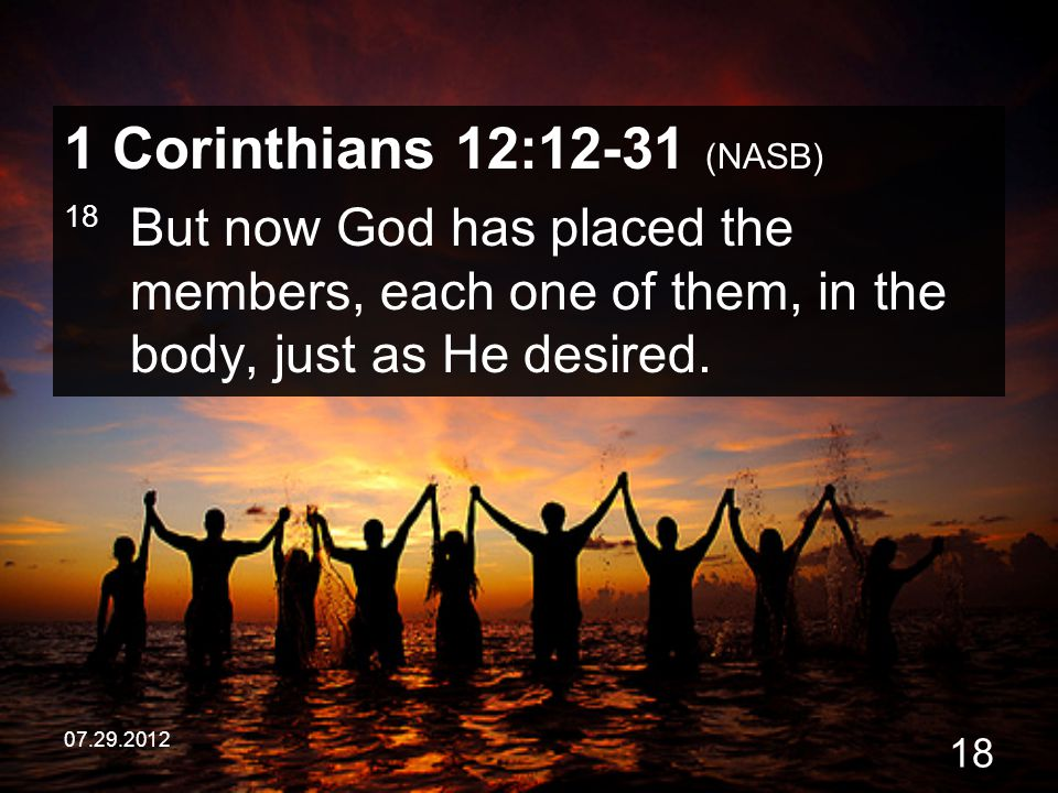 1 Corinthians 12:12-31 (NASB) 18 But now God has placed the members, each one of them, in the body, just as He desired.