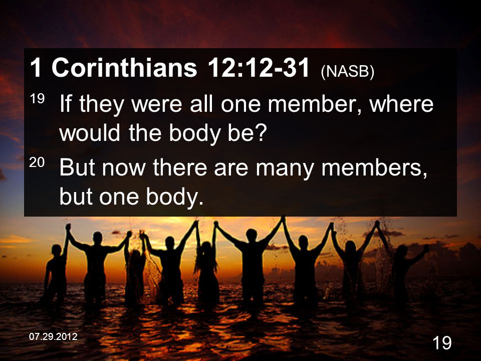 1 Corinthians 12:12-31 (NASB) 19 If they were all one member, where would the body be 20 But now there are many members, but one body.