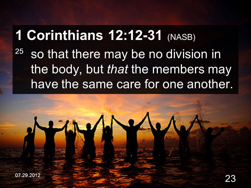 1 Corinthians 12:12-31 (NASB) 25 so that there may be no division in the body, but that the members may have the same care for one another.