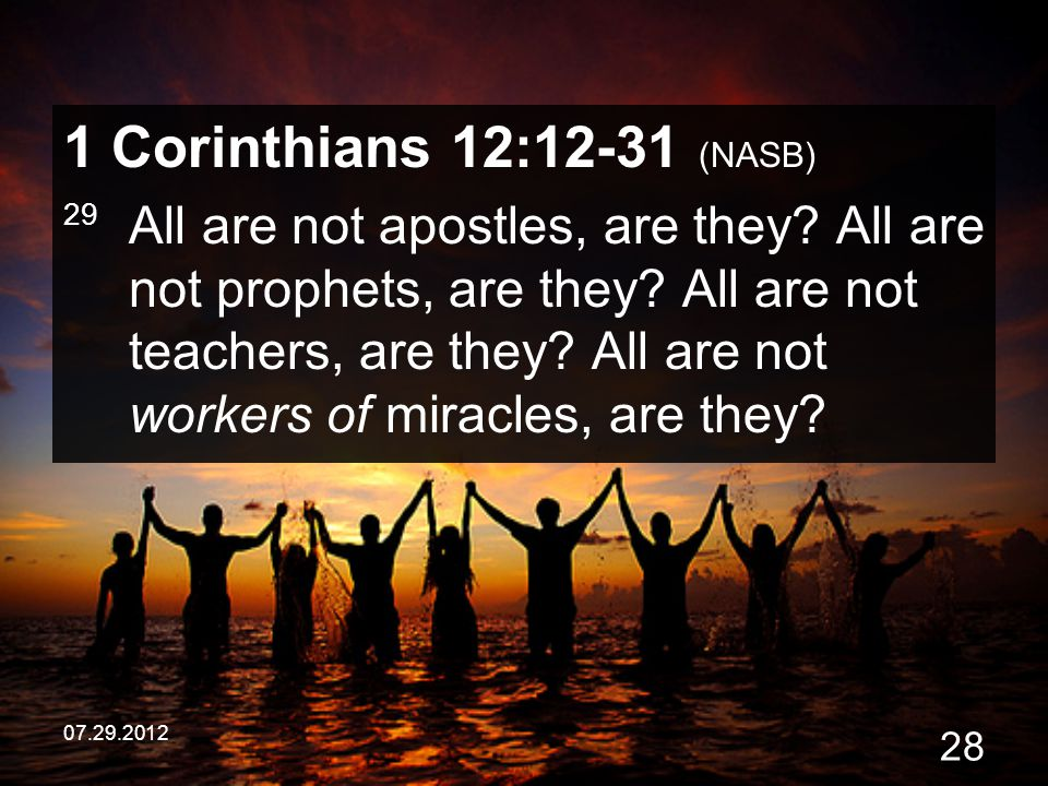 1 Corinthians 12:12-31 (NASB)