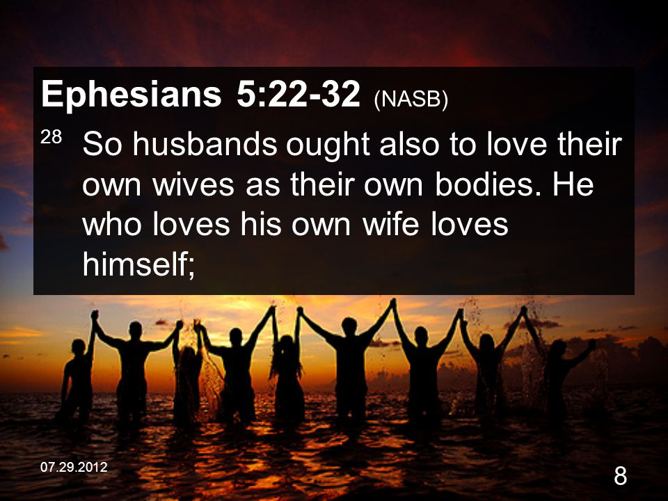 Ephesians 5:22-32 (NASB) 28 So husbands ought also to love their own wives as their own bodies. He who loves his own wife loves himself;