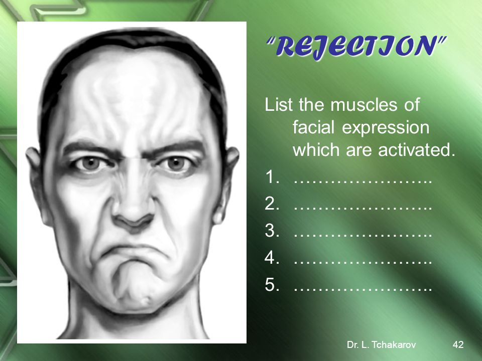 REJECTION List the muscles of facial expression which are activated.