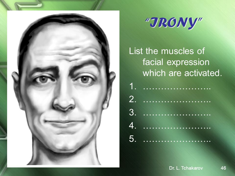 IRONY List the muscles of facial expression which are activated.