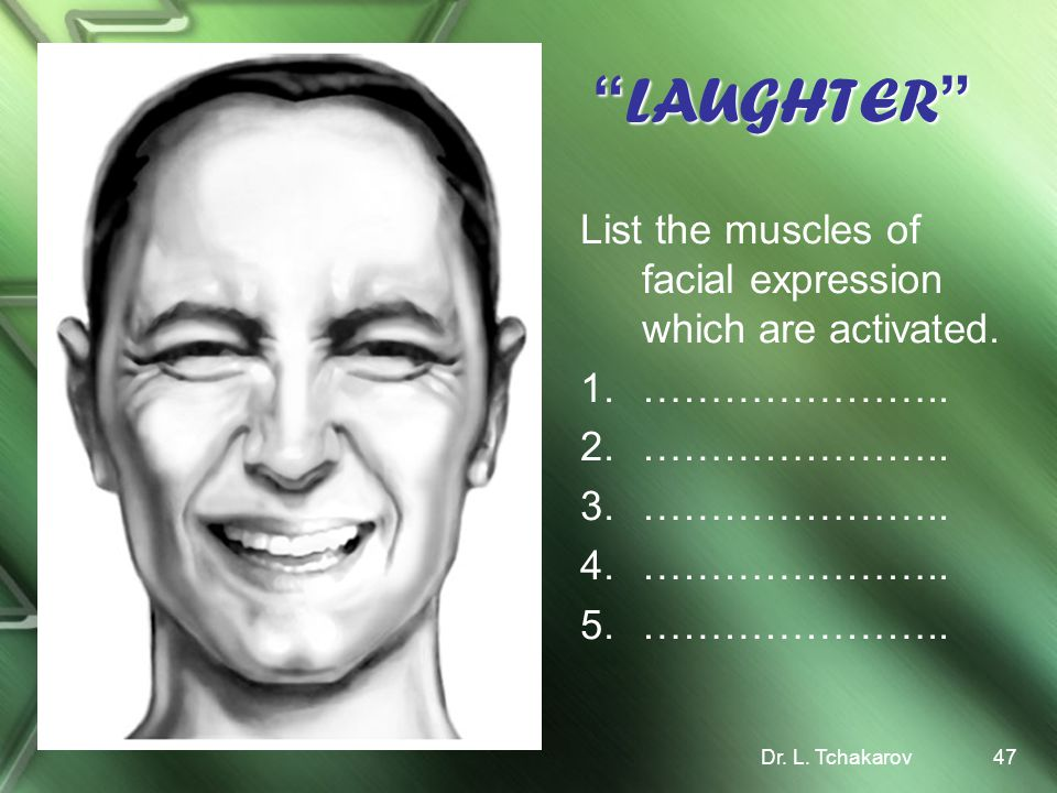 LAUGHTER List the muscles of facial expression which are activated.