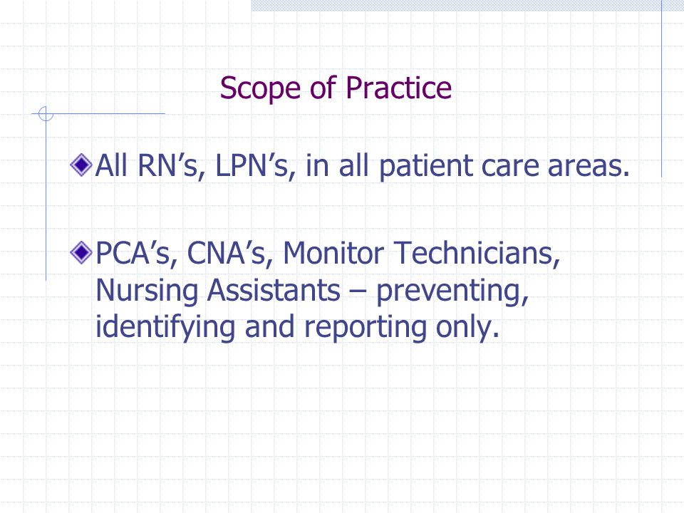 Scope of Practice All RN's, LPN's, in all patient care areas.
