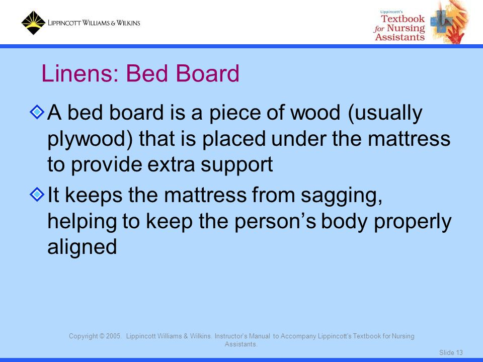 Linens: Bed Board A bed board is a piece of wood (usually plywood) that is placed under the mattress to provide extra support.