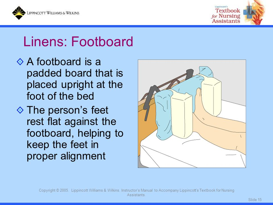 Linens: Footboard A footboard is a padded board that is placed upright at the foot of the bed.