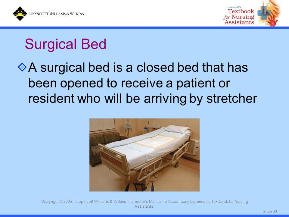 Surgical Bed A surgical bed is a closed bed that has been opened to receive a patient or resident who will be arriving by stretcher.