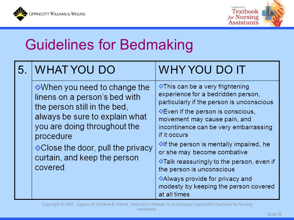 Guidelines for Bedmaking