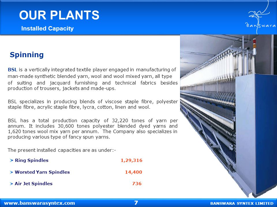 OUR PLANTS Spinning Installed Capacity 7