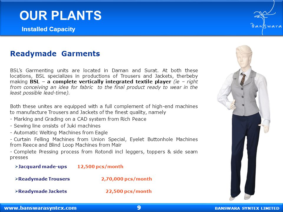 OUR PLANTS Readymade Garments Installed Capacity 9