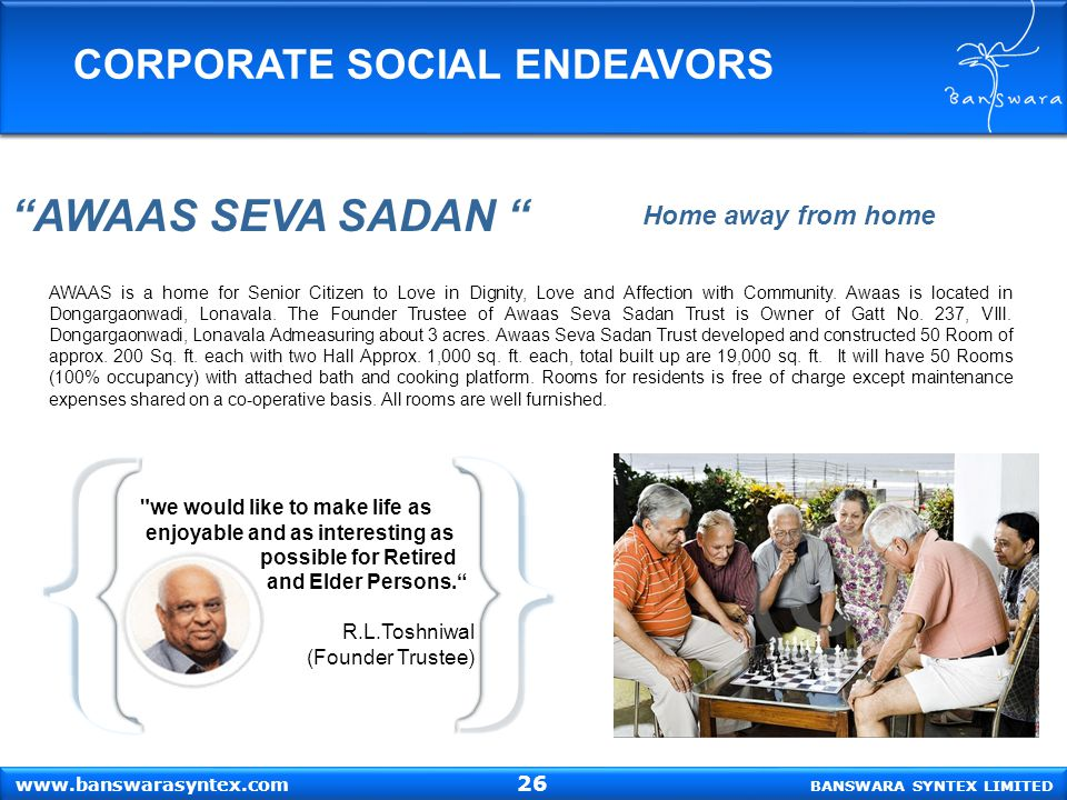AWAAS SEVA SADAN CORPORATE SOCIAL ENDEAVORS Home away from home