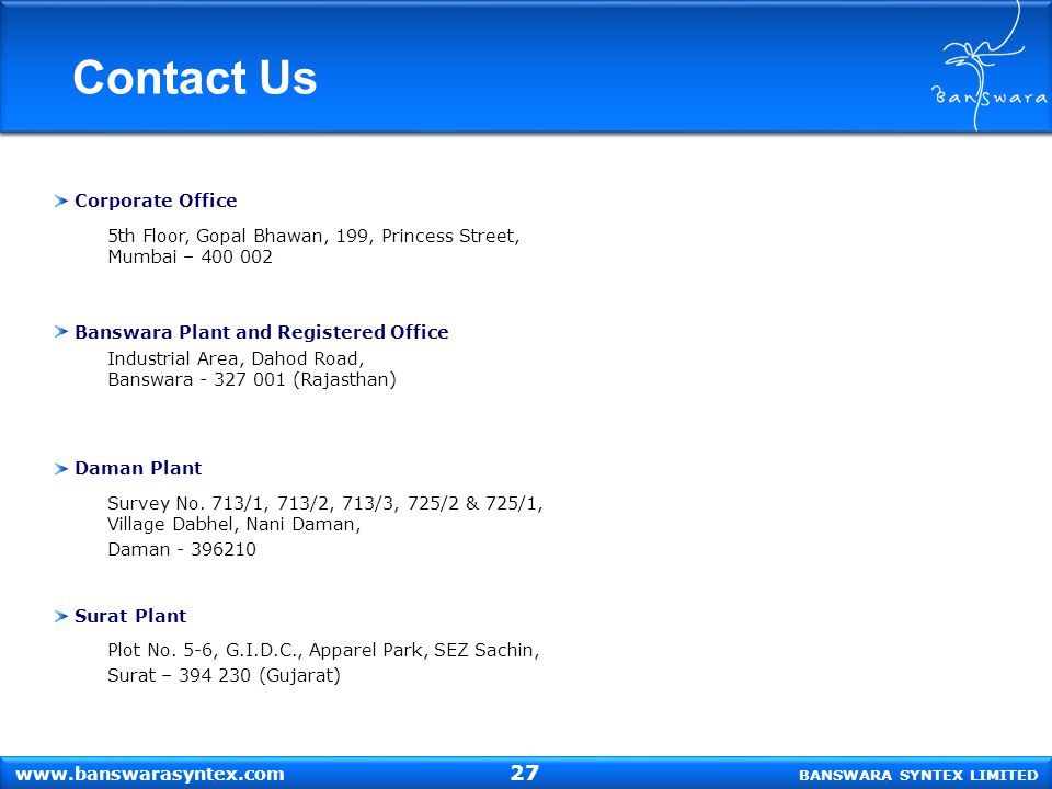 Contact Us 27 Corporate Office