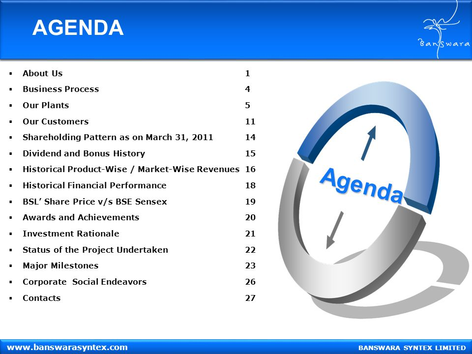 Agenda AGENDA About Us 1 Business Process 4 Our Plants 5