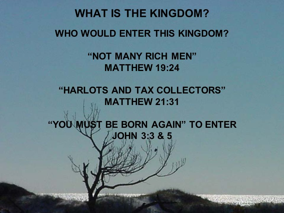 WHAT IS THE KINGDOM WHO WOULD ENTER THIS KINGDOM NOT MANY RICH MEN