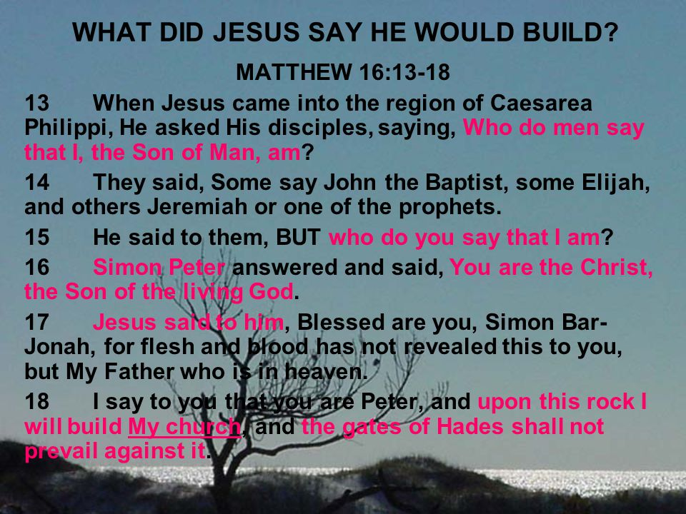 WHAT DID JESUS SAY HE WOULD BUILD