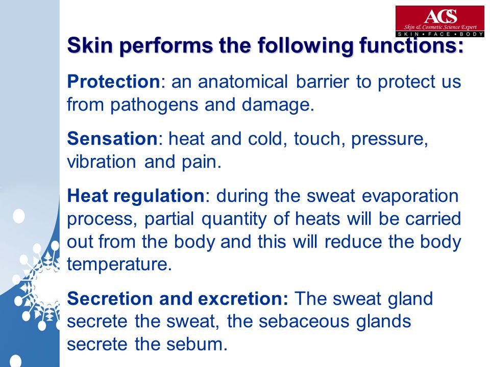 Skin performs the following functions: Protection: an anatomical barrier to protect us from pathogens and damage.