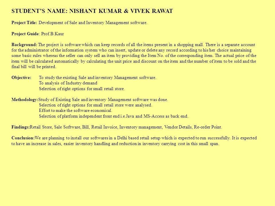STUDENT'S NAME: NISHANT KUMAR & VIVEK RAWAT