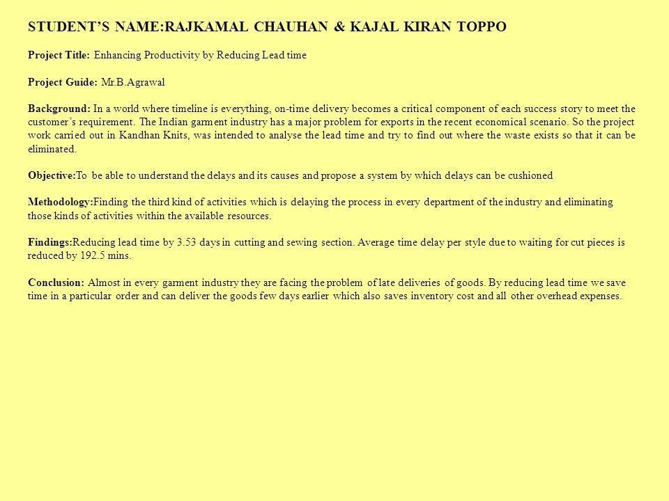 STUDENT'S NAME:RAJKAMAL CHAUHAN & KAJAL KIRAN TOPPO