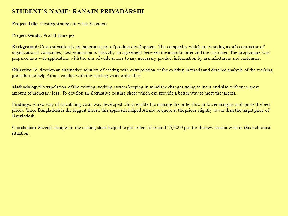 STUDENT'S NAME: RANAJN PRIYADARSHI