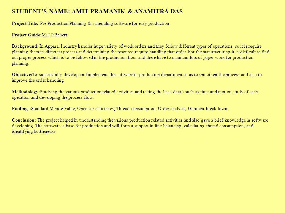 STUDENT'S NAME: AMIT PRAMANIK & ANAMITRA DAS