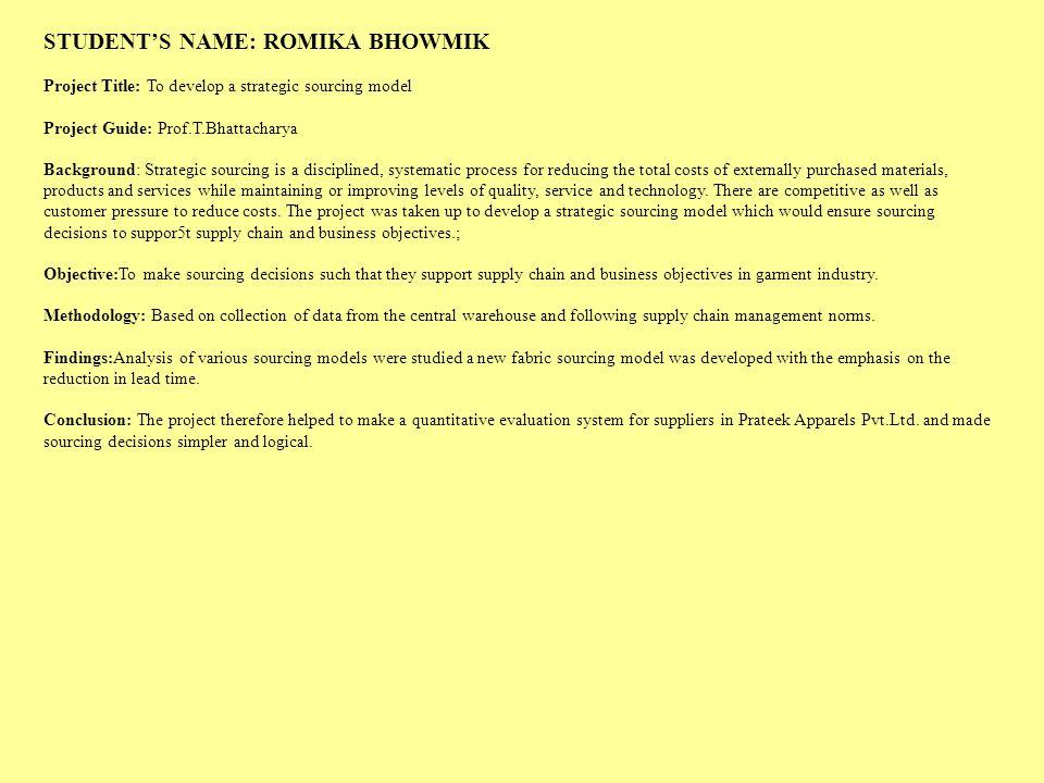 STUDENT'S NAME: ROMIKA BHOWMIK