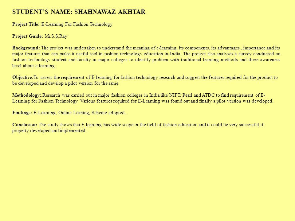 STUDENT'S NAME: SHAHNAWAZ AKHTAR