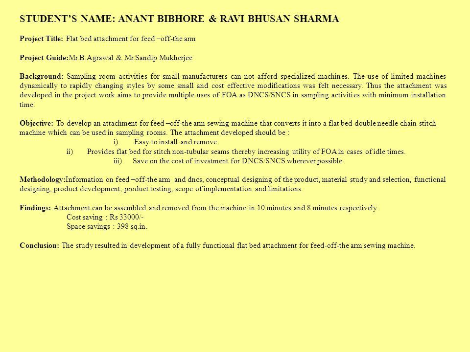 STUDENT'S NAME: ANANT BIBHORE & RAVI BHUSAN SHARMA
