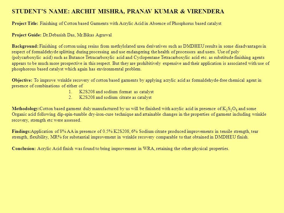 STUDENT'S NAME: ARCHIT MISHRA, PRANAV KUMAR & VIRENDERA