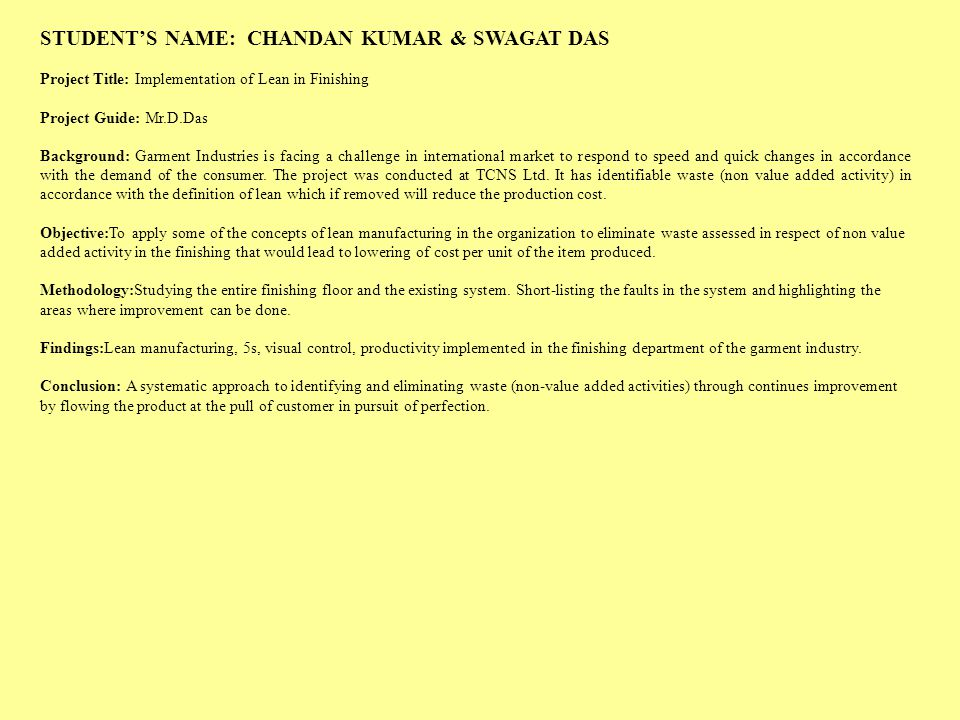 STUDENT'S NAME: CHANDAN KUMAR & SWAGAT DAS