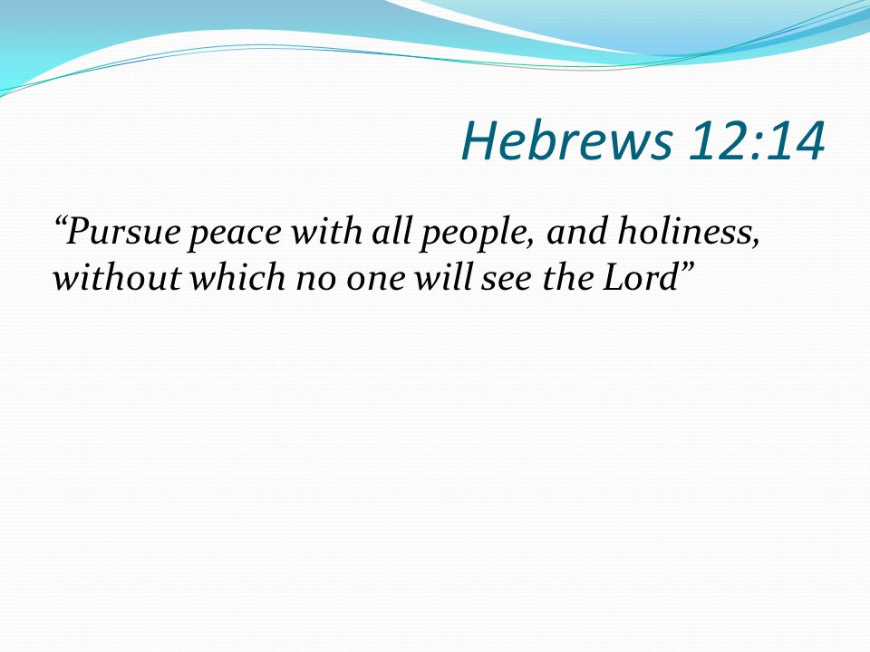 Hebrews 12:14 Pursue peace with all people, and holiness, without which no one will see the Lord