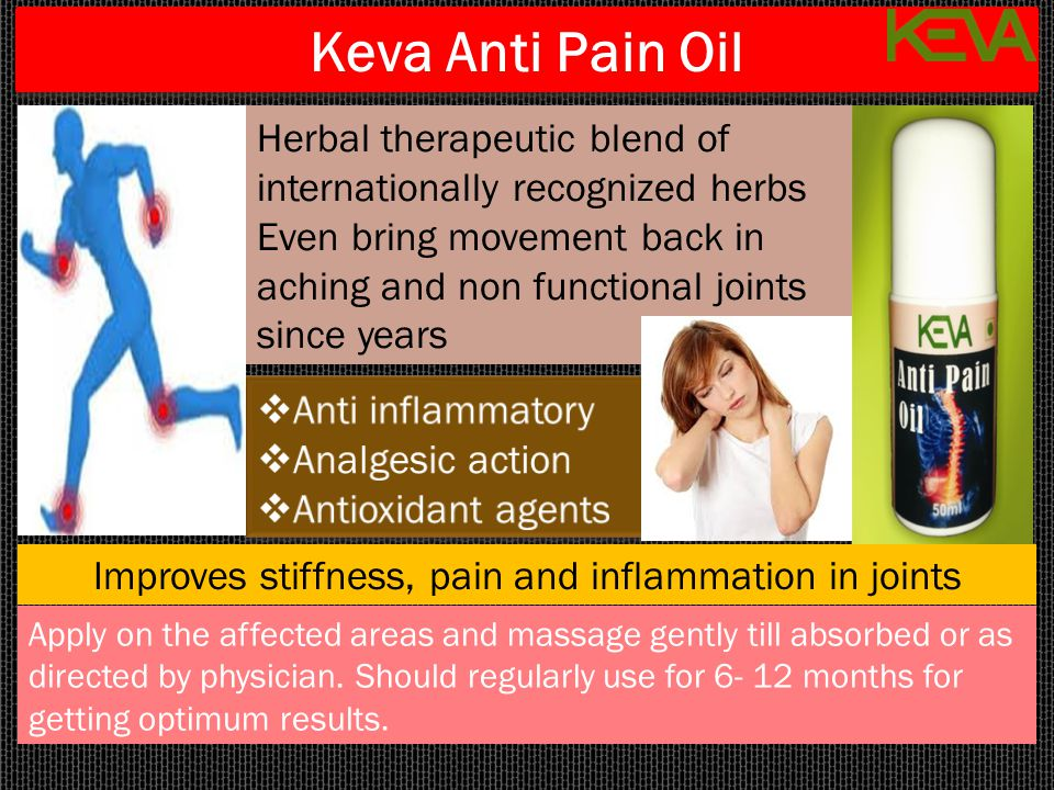 Improves stiffness, pain and inflammation in joints