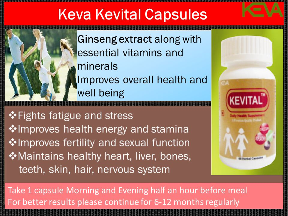 Keva Kevital Capsules Ginseng extract along with essential vitamins and minerals. Improves overall health and well being.