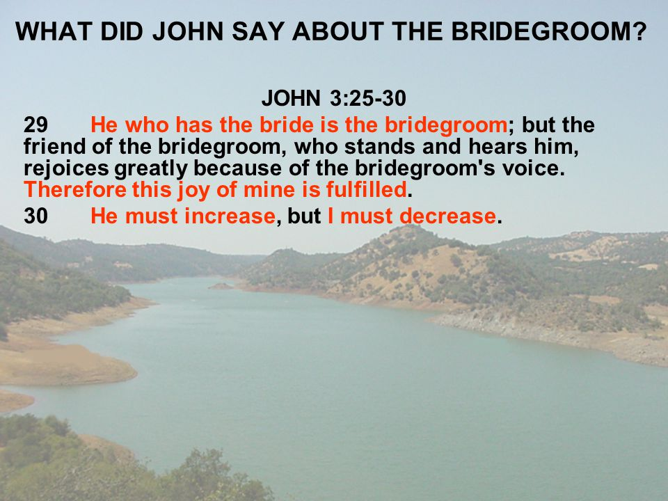 WHAT DID JOHN SAY ABOUT THE BRIDEGROOM
