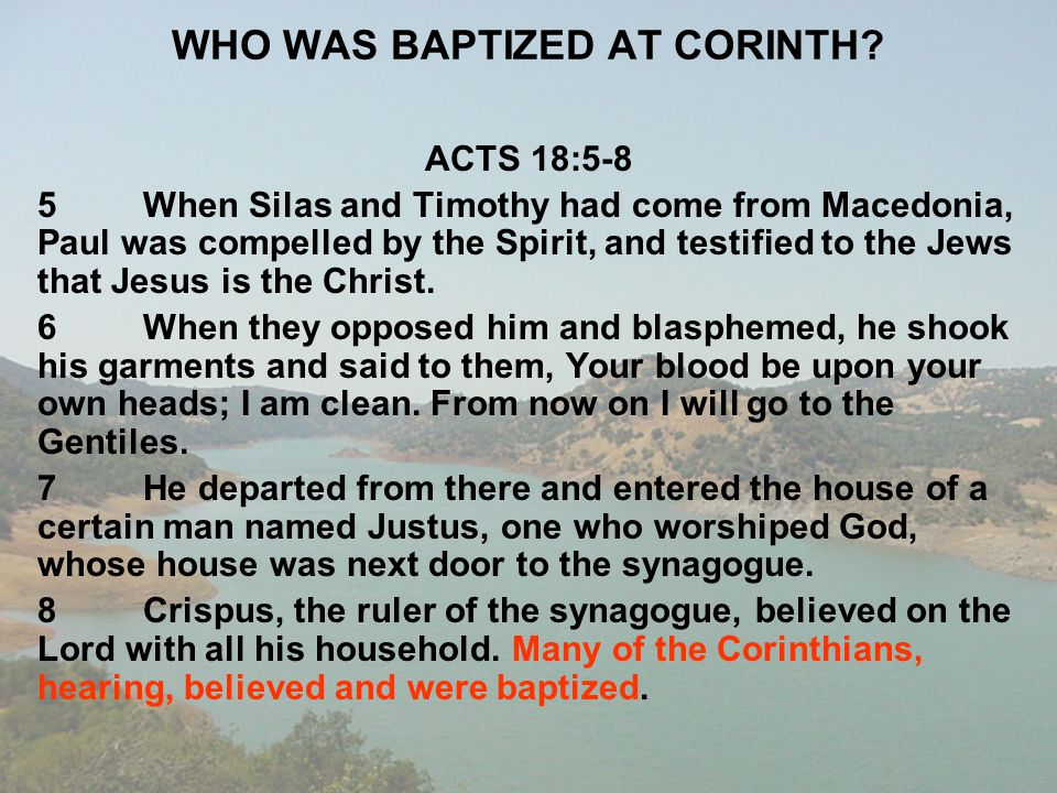 WHO WAS BAPTIZED AT CORINTH
