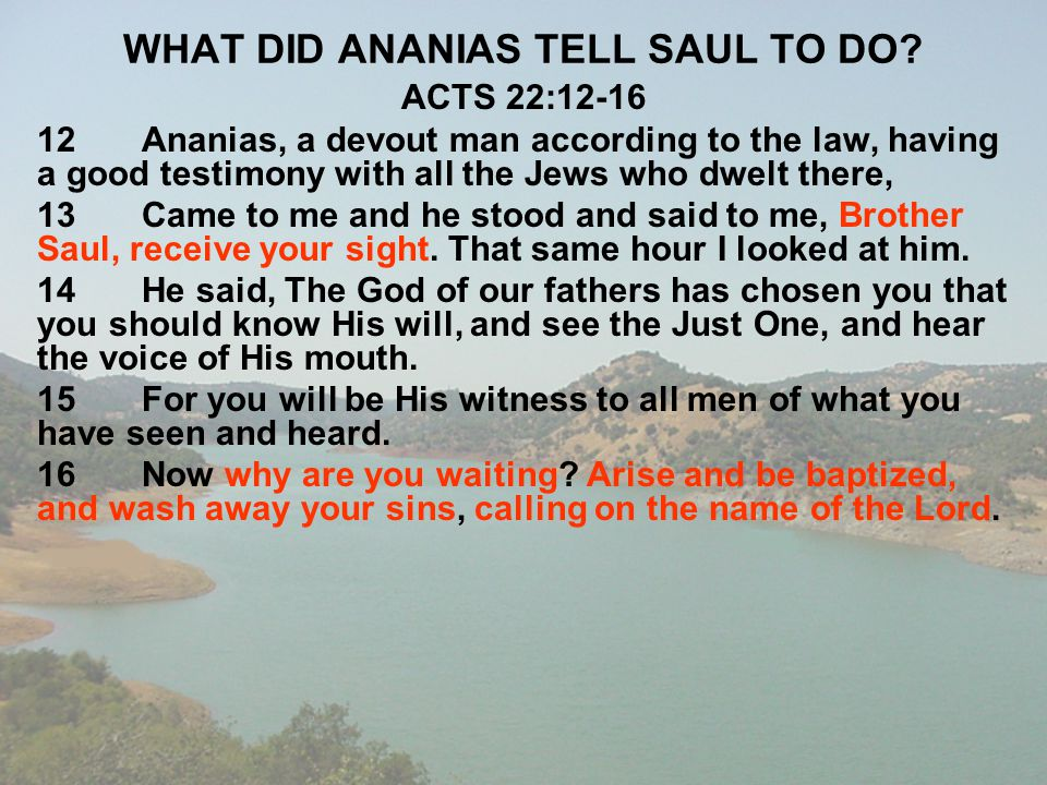 WHAT DID ANANIAS TELL SAUL TO DO