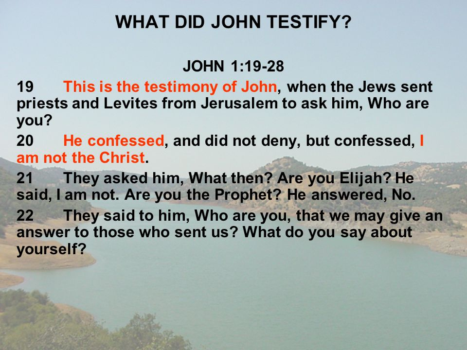 WHAT DID JOHN TESTIFY JOHN 1:19-28